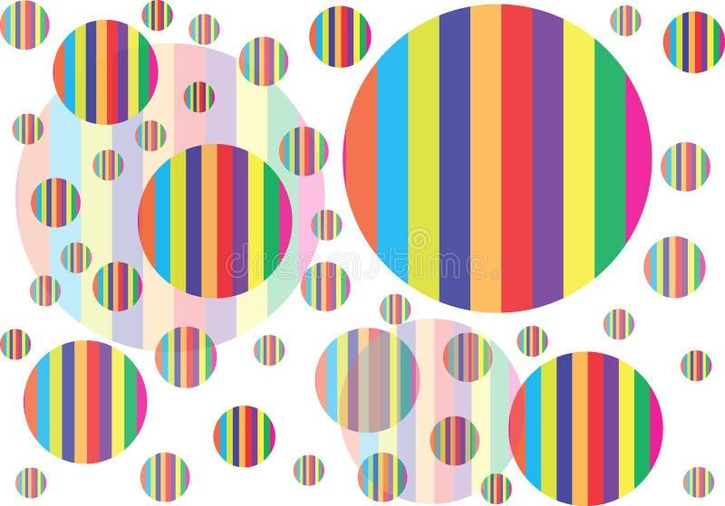 Veelvoudige Polka Dots With Multicolor Stripes Pattern vector illustratie