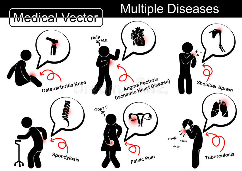 Veelvoudige ziekten vector illustratie