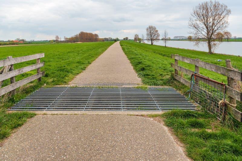 Veenet in een smalle cyclus en het lopen weg langs een rivier in Nederland royalty-vrije stock afbeeldingen