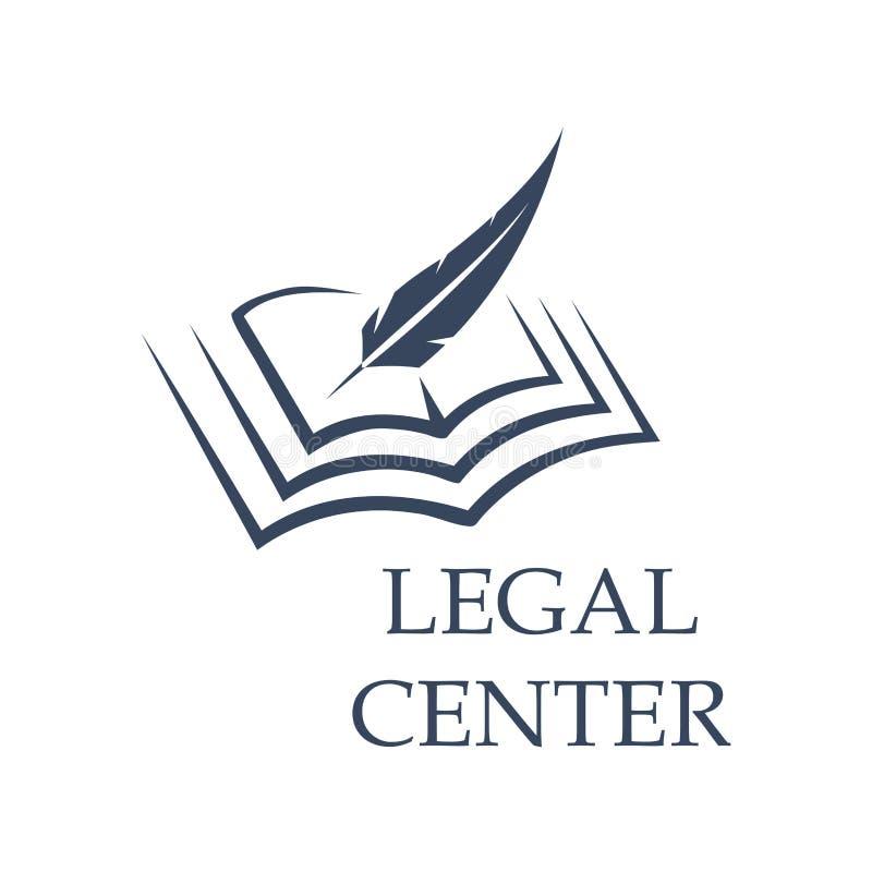 Veer die op boek als wettelijk centrumteken schrijven stock illustratie