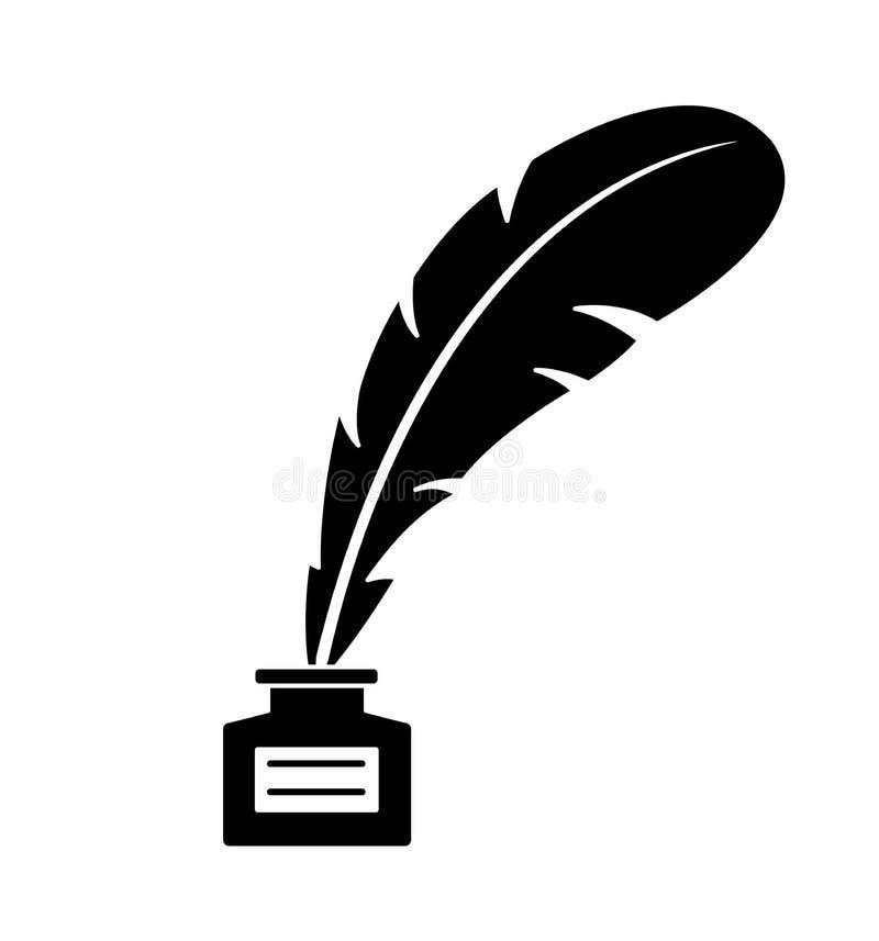 Veer en inktflessenpictogram op witte vectorillustratie wordt geïsoleerd die als achtergrond royalty-vrije illustratie