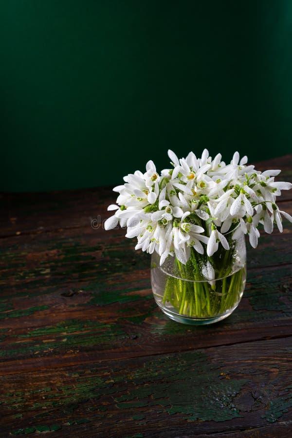 Veerbloemen in glazen vaas op de bijtende groene achtergrond royalty-vrije stock afbeeldingen