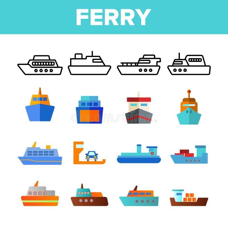 Veerboot, Schip en Schip Vector Geplaatste Kleurenpictogrammen stock illustratie