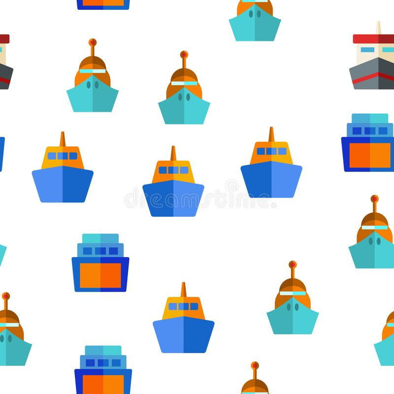 Veerboot, Schip en Schip Vector Naadloos Patroon royalty-vrije illustratie