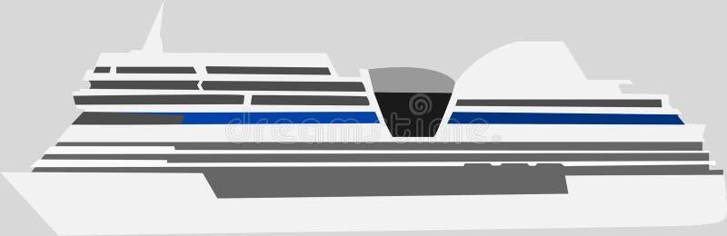 Veerboot Vectorillustratie en cruisevoering royalty-vrije illustratie