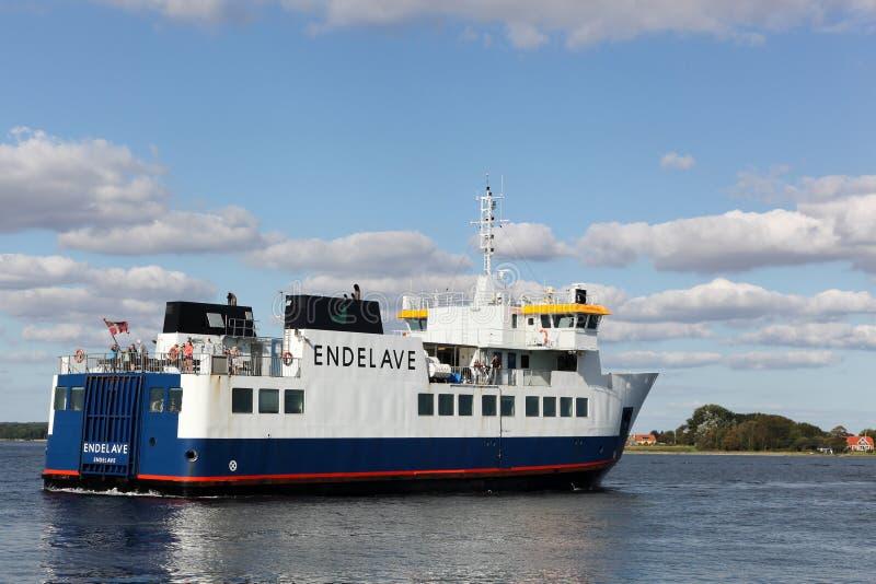 Veerboot voor Endelave-eiland in Denemarken stock fotografie