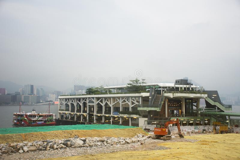 Veerbootpost voor de kruising van Victoria Harbour in Hong Kong, China royalty-vrije stock fotografie