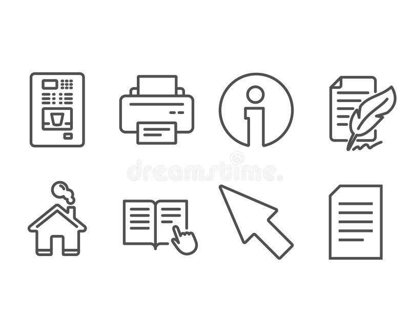 Veerhandtekening, Muiscurseur en Gelezen instructiepictogrammen Printer, Koffieverkoop en Documenttekens vector illustratie