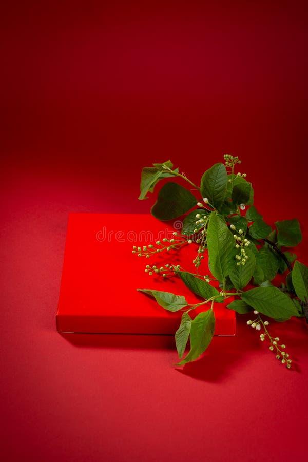 Veertak met bloemen en cadeaudoos op rode achtergrond royalty-vrije stock afbeeldingen