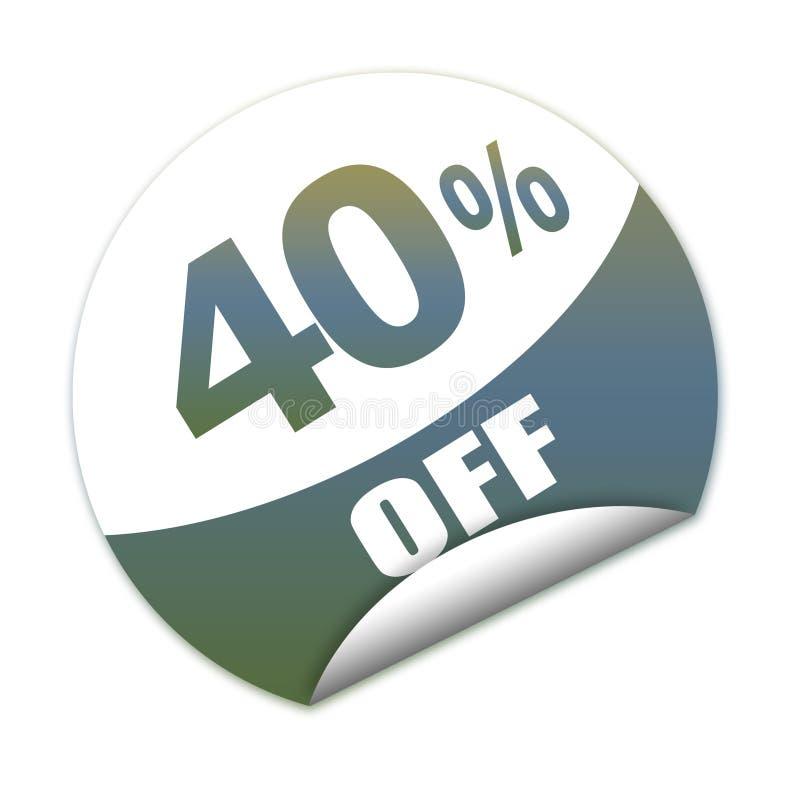 Veertig percenten van stickerkorting vector illustratie