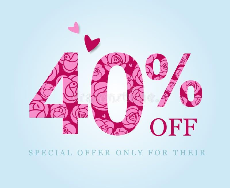 Veertig percentenkorting Het symbool van de verkoop Roze rozen royalty-vrije illustratie