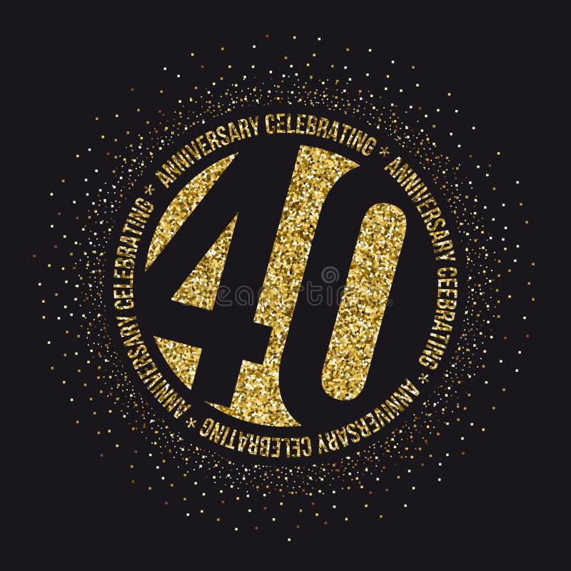 Veertig van de verjaardagsjaar viering logotype 40ste verjaardagsembleem royalty-vrije illustratie