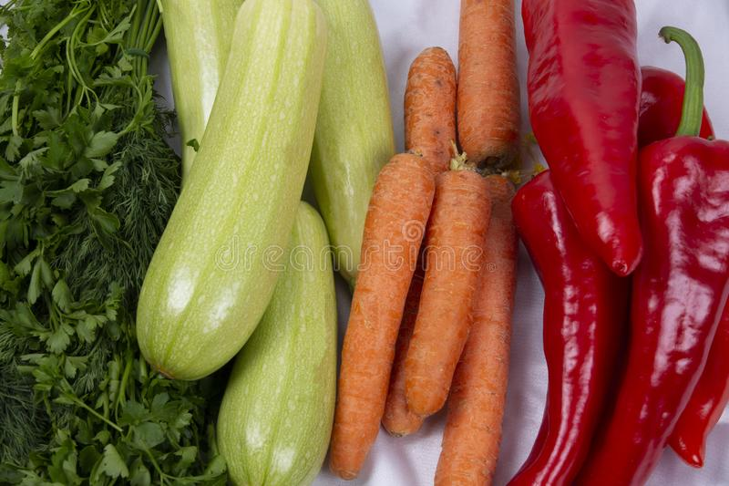 Vegеtables red pepper, carrot, zucchini, parsley stock image