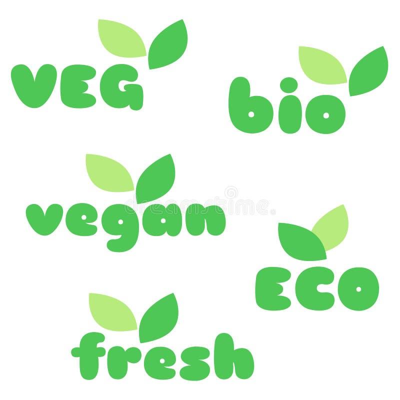 Veg, bio, vegan, eco, fresh symbols with leaves vector set stock illustration