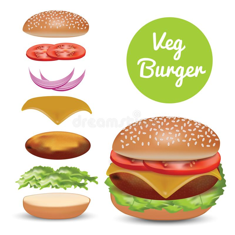 Veg Burger and isolated elements. High quality burger with isolated elements like bread, tomato, sliced onion etc vector illustration