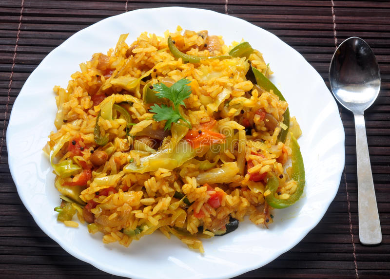 Veg Fried rice. Indian vegetarian fried rice in the plate stock photo
