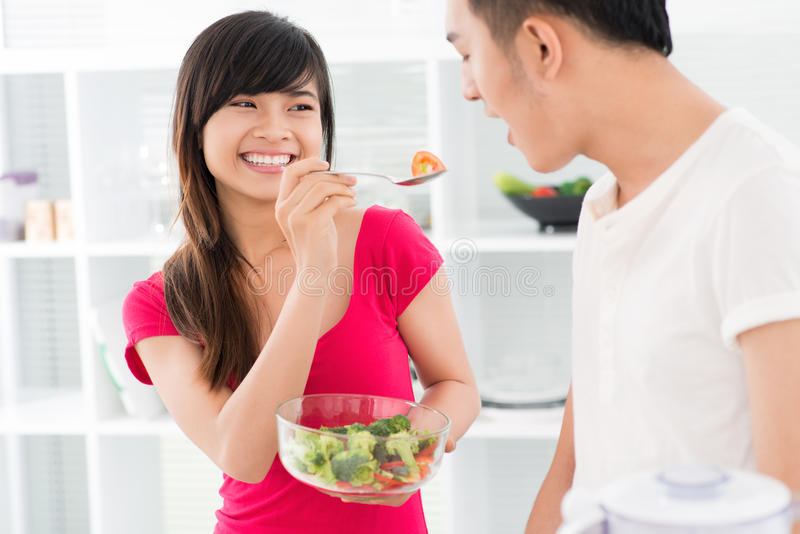 Download Veg salad stock photo. Image of asian, eating, girl, female - 28361122
