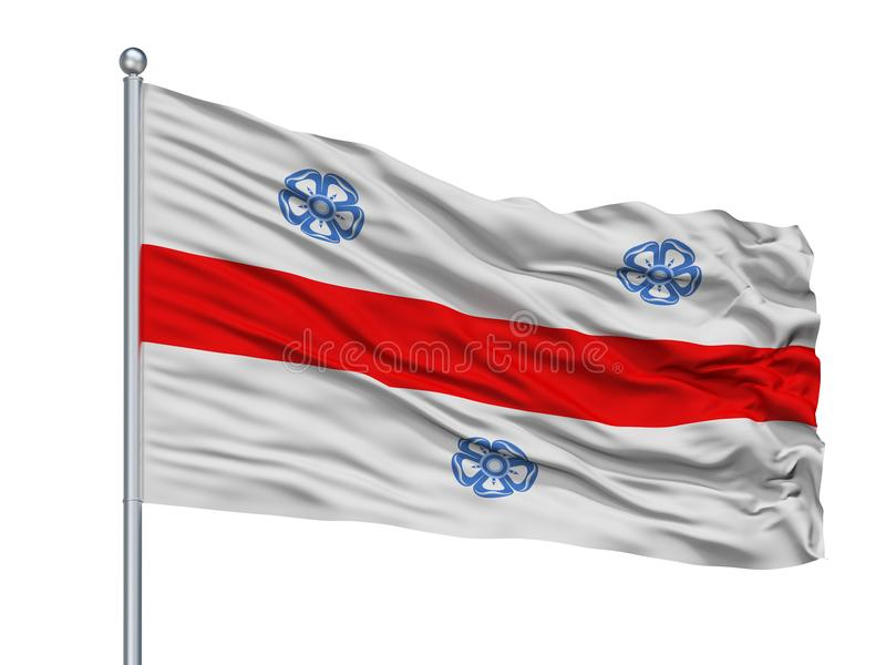 Vega Alta City Flag On Flagpole, Puerto Rico som isoleras på vit bakgrund stock illustrationer