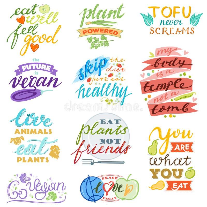 Vegan διανυσματικό υγιές χορτοφάγο τροφίμων eco φυτικό fruity χειρόγραφο logotype απεικόνισης σημαδιών φρούτων γράφοντας ελεύθερη απεικόνιση δικαιώματος