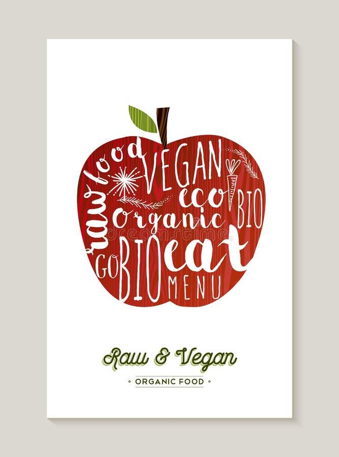 Vegan и сырцовая иллюстрация концепции яблока еды иллюстрация вектора