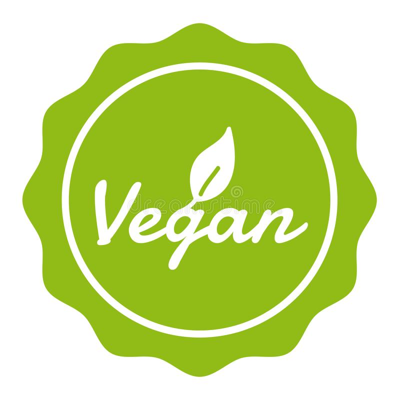 Vegan Badge Button with Icon. stock illustration
