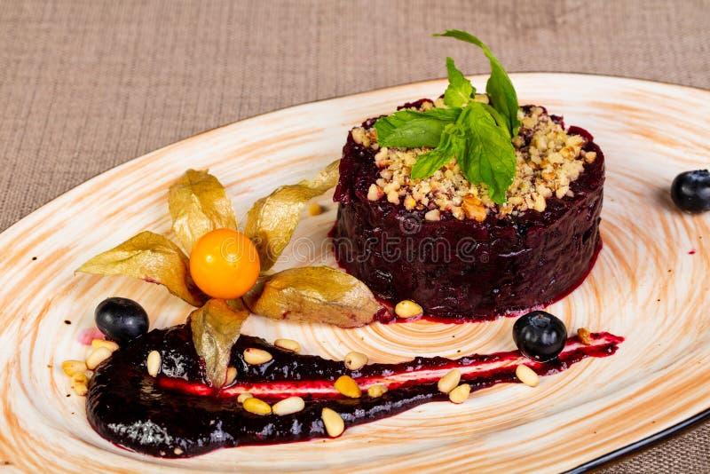 Vegan beetroot salad royalty free stock photography