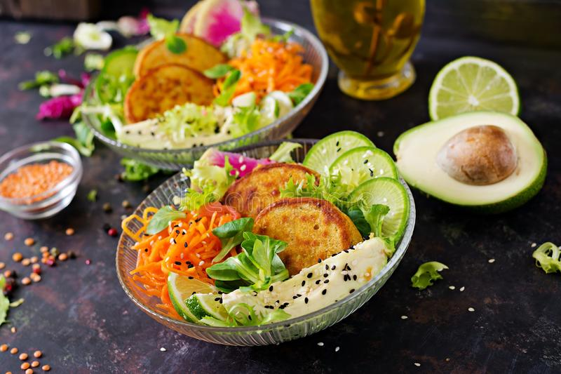 Vegan buddha bowl dinner food table. Healthy vegan lunch bowl. Fritter with lentils and radish, avocado, carrot salad. Vegan buddha bowl dinner food table royalty free stock images