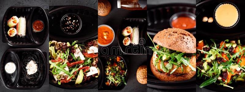 Vegan burger παράδοσης, φυτικοί ρόλοι, λαχανικά, σαλάτες και ζυμαρικά στο ακριβό μαύρο κουτί με τις σάλτσες στοκ εικόνα