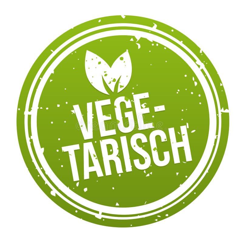 Vegan Button Badge - German-Translation: Vegetarisch Banner stock illustration