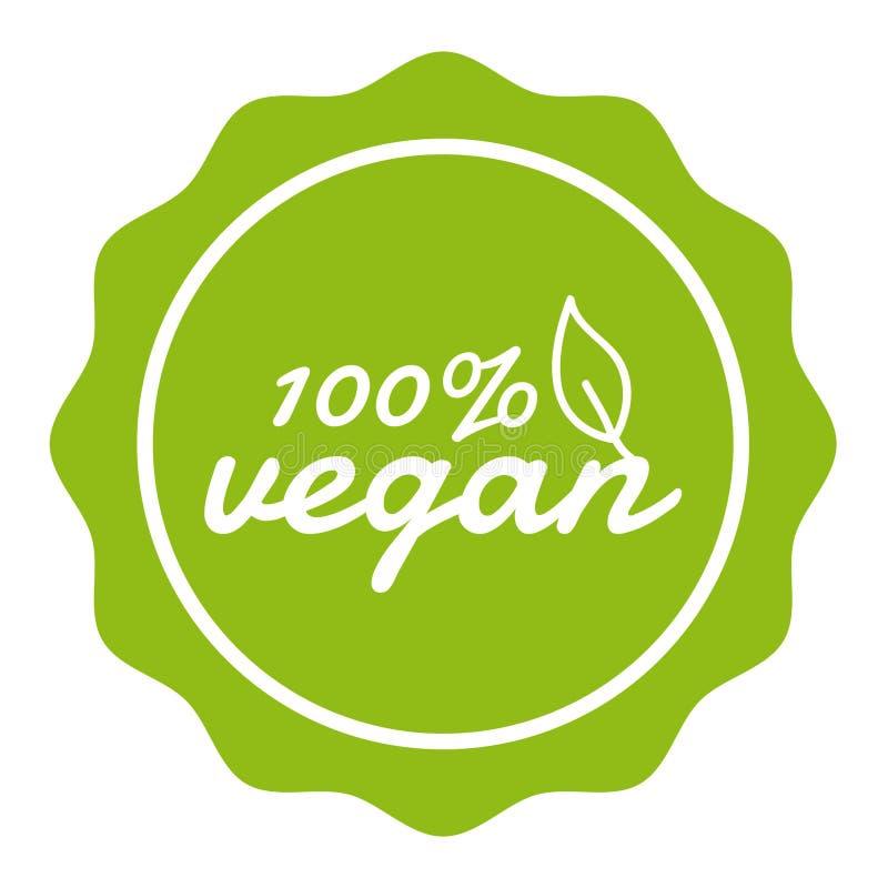 100% Vegan Button Banner Badge. Eps10 Vector. stock illustration