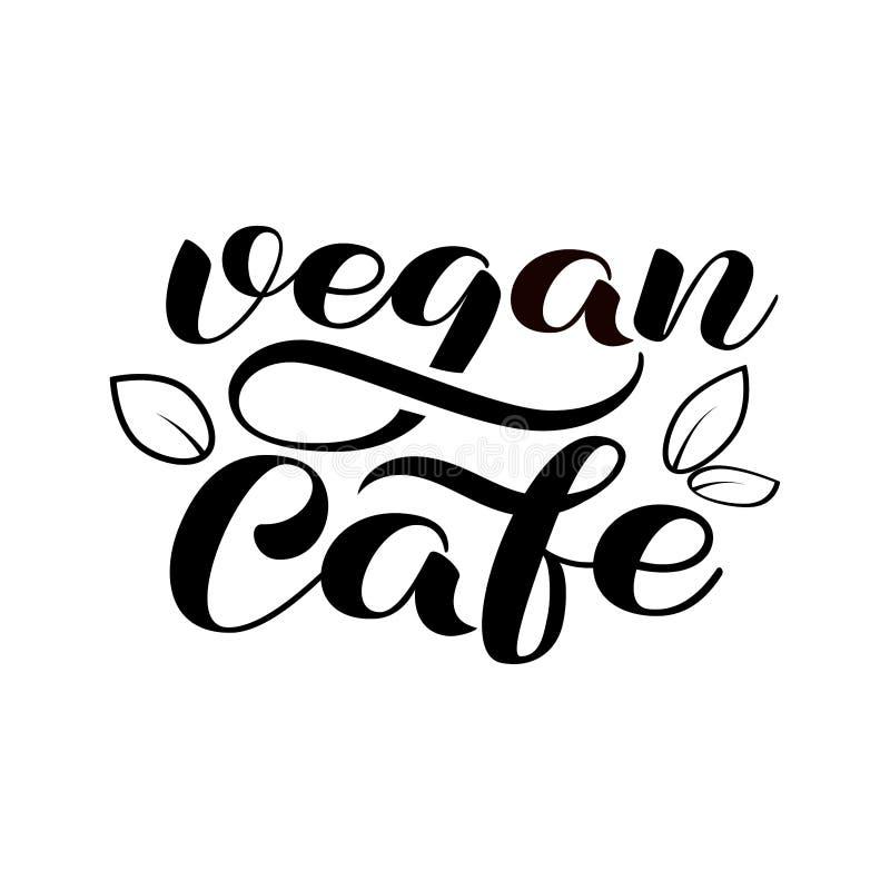 Vegan cafe lettering. Vector illustration for logo vector illustration