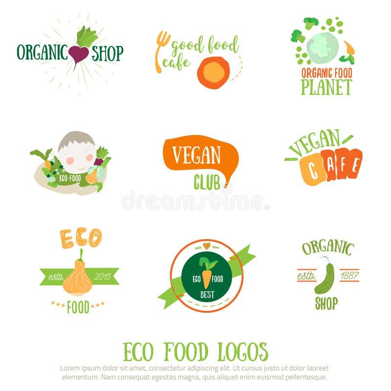 Vegan cafe logo elements on white background. Vegetarian menu. Veggie food restaurant labels. Can be used for signboards royalty free illustration