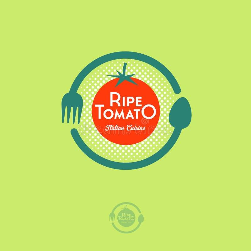 Vegan Cafe logo. Ripe red tomato, fork and spoon in the circle. Ripe Tomato Cafe logo. Ripe red tomato, fork and spoon in the circle. Italian traditional food stock illustration