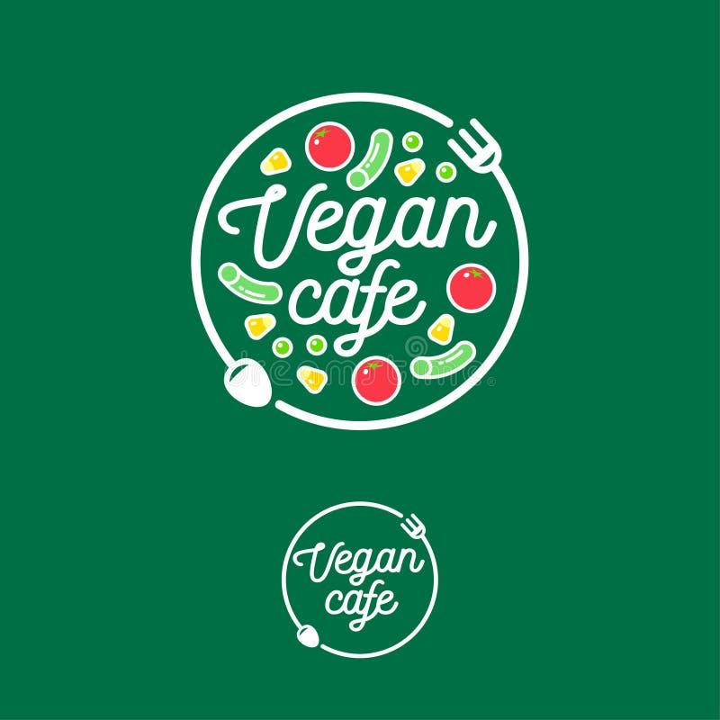Vegan cafe logo. Snack bar or restaurant emblem. Fork, spoon and vegetables. vector illustration