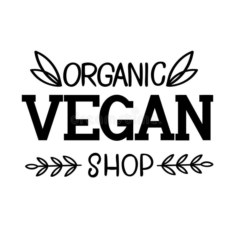 Organic Vegan Shop Logo Template royalty free stock images