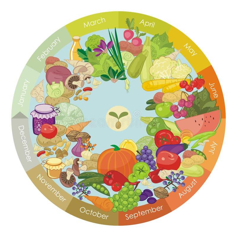 Vegan Calendar. Illustrated calendar of various vegetables and fruits vector illustration