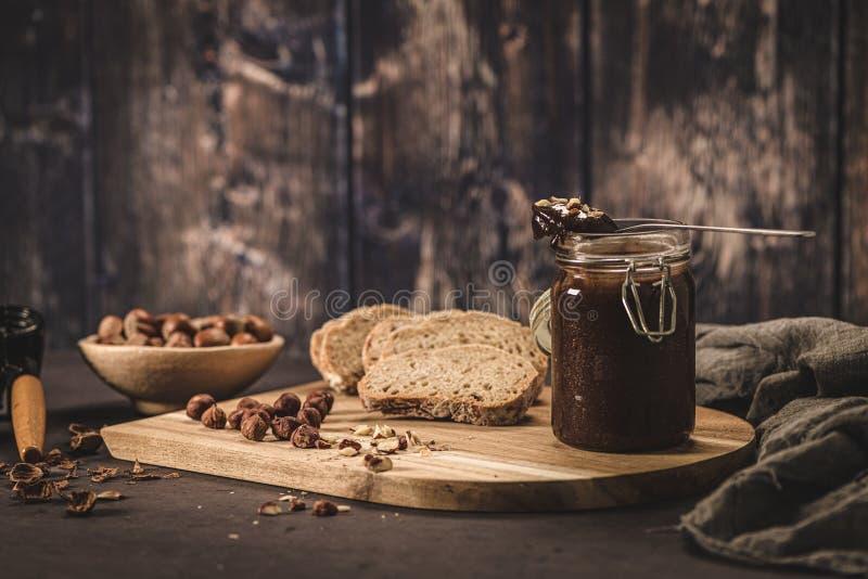 Vegan chocolate spread stock photos