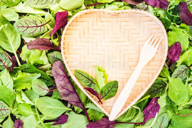 Vegan concept or diet with text space green salad leaves background and heart shaped plate. royalty free stock photography