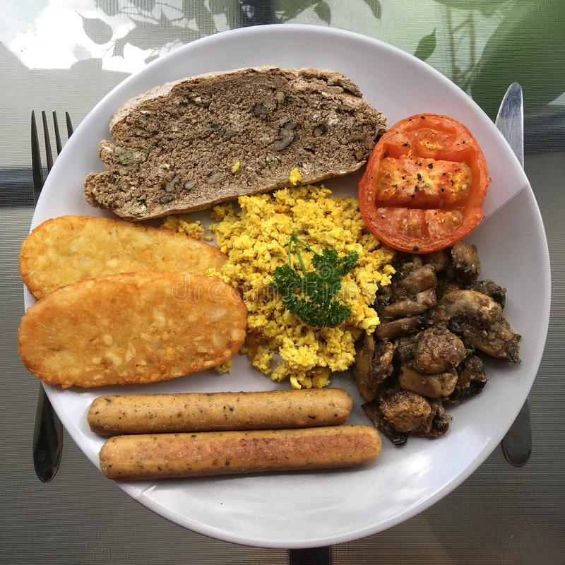 Vegan cooked breakfast royalty free stock photography