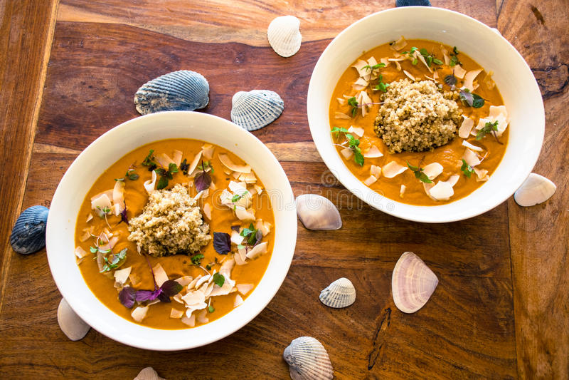Vegan curry with quinoa royalty free stock photos