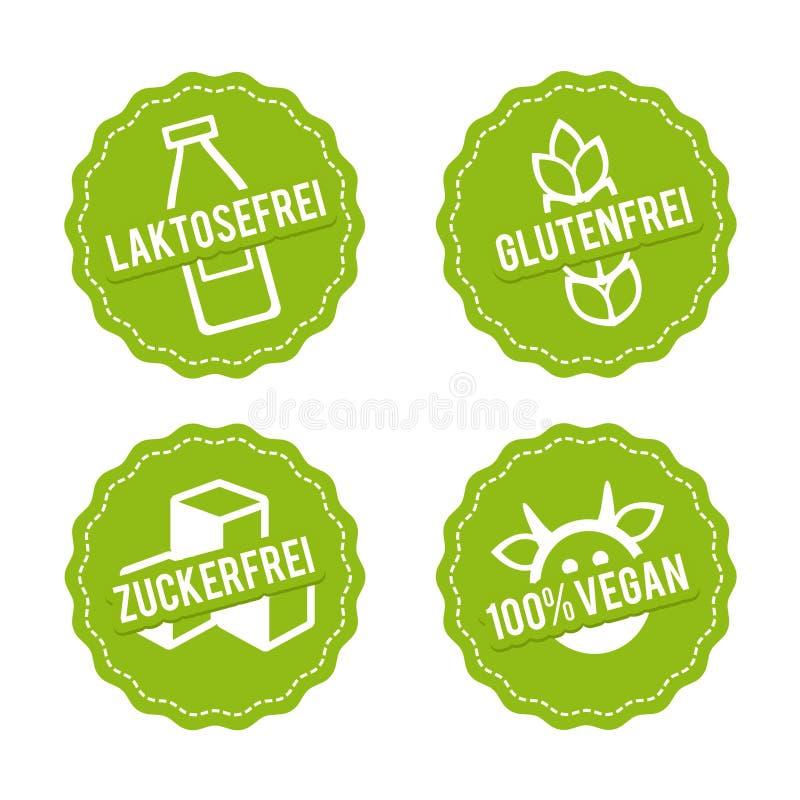 Vegan de Vektor Symbole, Glutenfrei, und Zuckerfrei de Laktosefrei illustration libre de droits