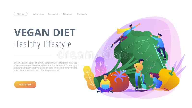 Vegan diet and healthy lifestyle landing page. People taking care of vegetables. Vegan diet, healthy lifestyle landing page. Vegetarianism, vegetarian diet vector illustration