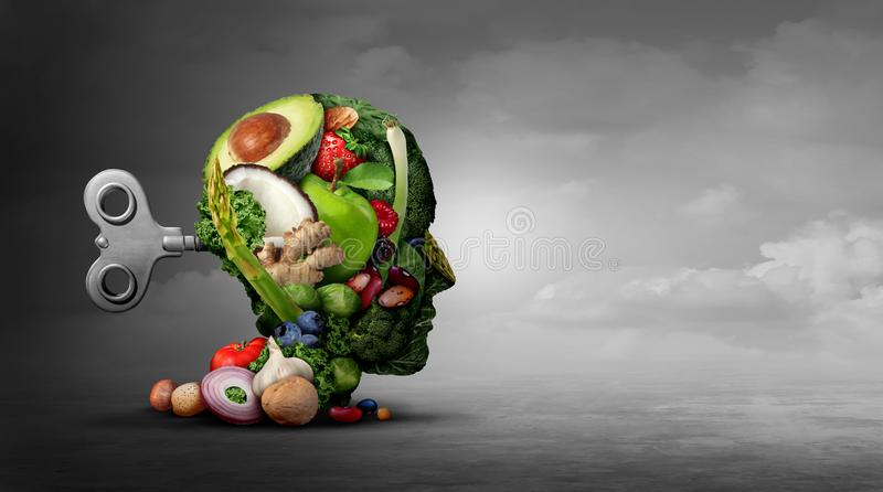Vegan Diet And Mental Function. Concept as a psychiatric or psychiatry symbol of the effects on the brain  and mood by eating natural food as fruit nuts royalty free illustration