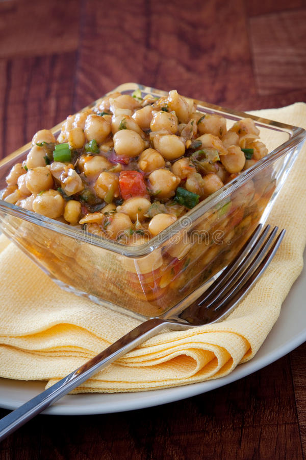 vegan för moroccan sallad för chickpeas kryddig royaltyfria foton