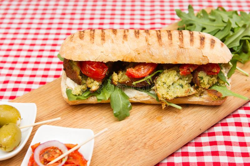 Vegan falafel sandwiches stock photos