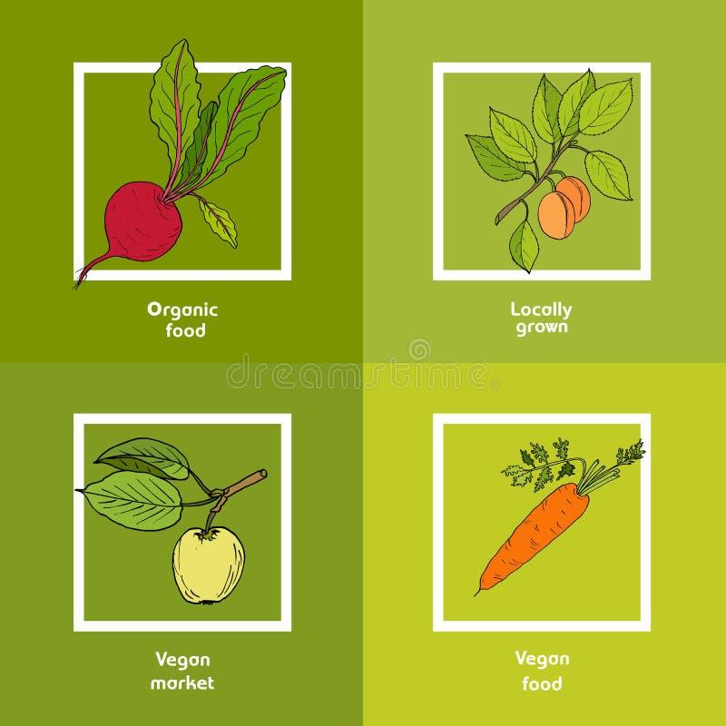 Vegan farmer market card with fresh vegetables royalty free illustration