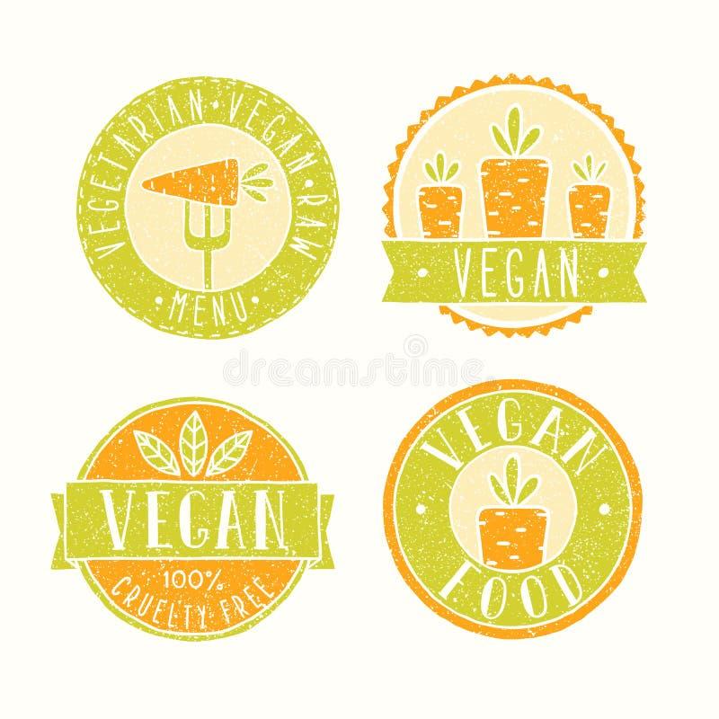 Vegan food badges. stock illustration
