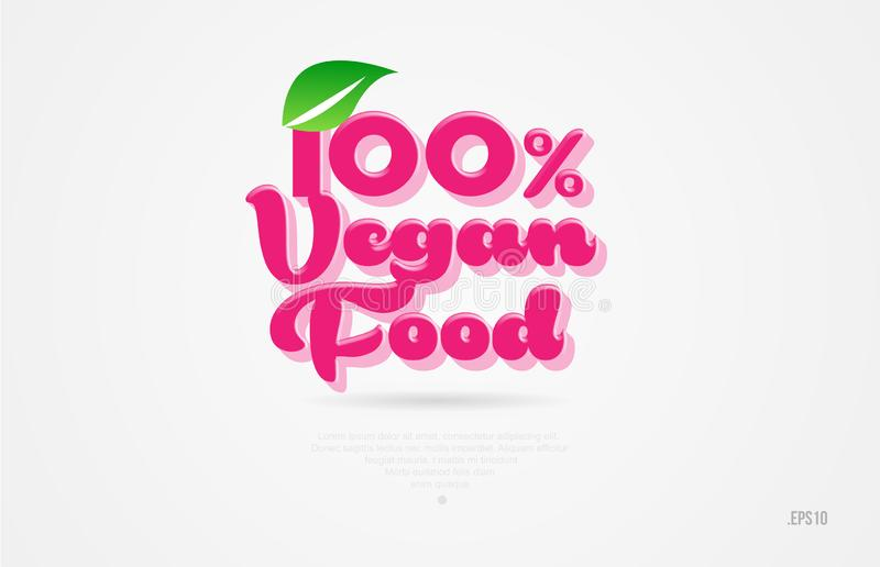 100% vegan food 3d word with a green leaf and pink color logo vector illustration