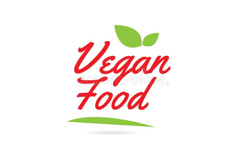 Vegan Food hand written word text for typography design in red vector illustration