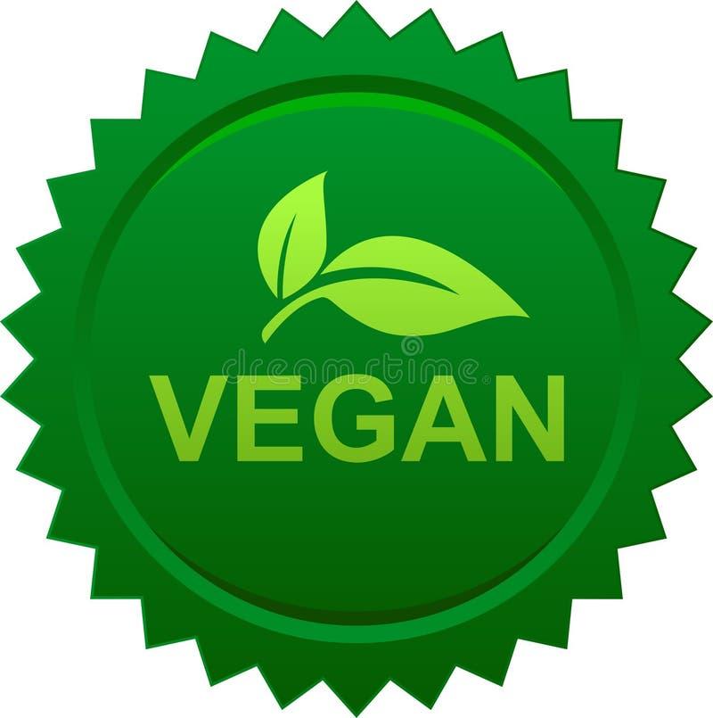 Vegan food seal stamp logo. Vegan food seal button logo - vector illustration on isolated background vector illustration